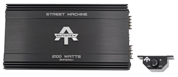 Autotek Street Machine Monoblock Class AB Amp (2,100 Watts) SMA2100.1. Includes remote. Screw and surface mount. Signal to noise ratio > 95 dB. Total harmonic distortion < 0.5 %. Variable input voltage.