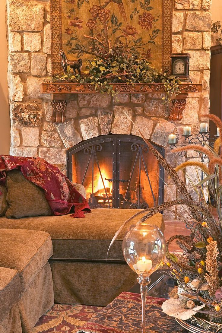Tuscan fireplace design