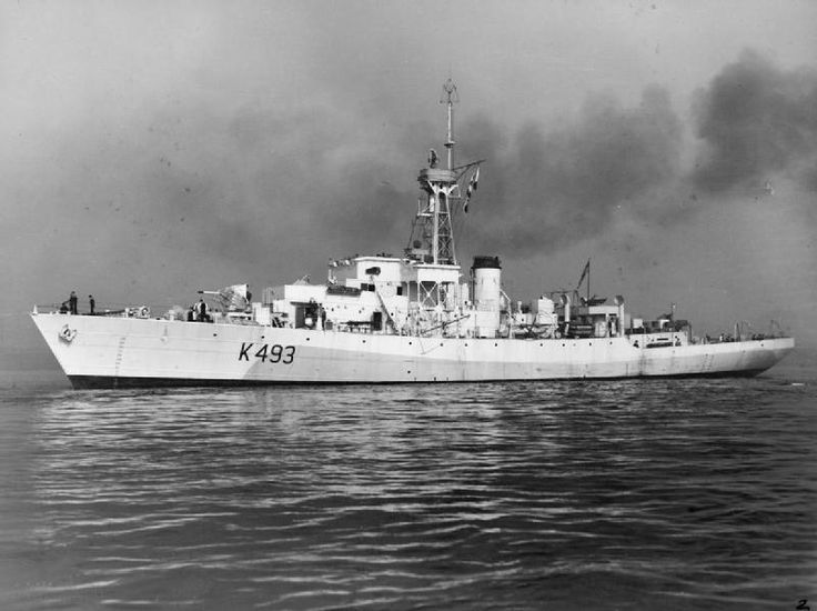 HMCS Bowmanville, a Castle class Corvette. The Flower class had never been intended for use in mid Atlantic, but necessity had forced their use. The Loch class Frigates that were being built to replace them could not be built by smaller shipyards so the Castle class were built. Originally built by Wm Pickersgill & Sons Sunderland as HMS Nunnery Castle, was transferred to RCN prior to completion & renamed HMCS Bowmanville. Commissioned 28/09/44. Sold in '46. Scrapped in '86.
