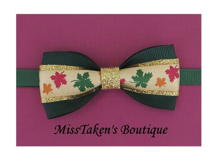 "Green Autumn Leafs Bow Tie    Adjustable Neck Size: 7.5-13"" (19-33cm)   Bow: 8cm x 4cm   Collar: 1cm Grosgrain Ribbon   Plastic Hook"