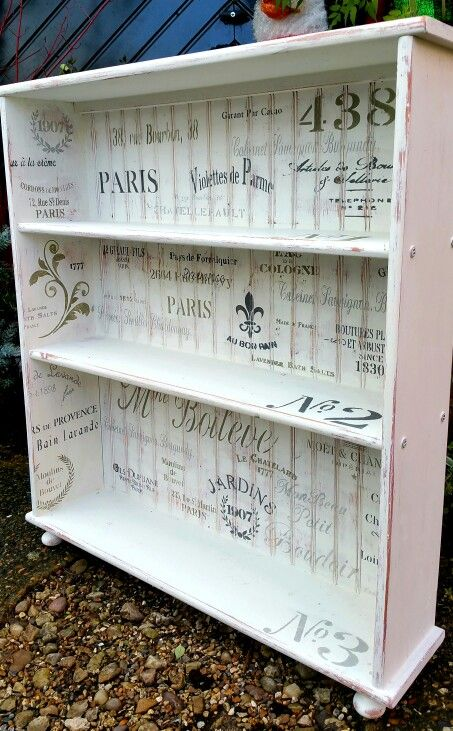 Shabby chic bookcase in Annie Sloan's old white, distressed, with multi stencil detailing, by Imperfectly Perfect xx