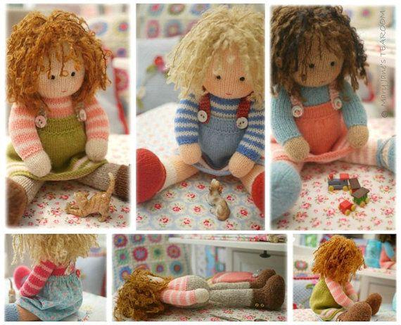 Poupées du salon de thé / poupée / Toy Knitting Patterns / 4 variations poupées tricotées plus gratuite en PDF pour chasuble A simplement cousu / Téléchargement instantané