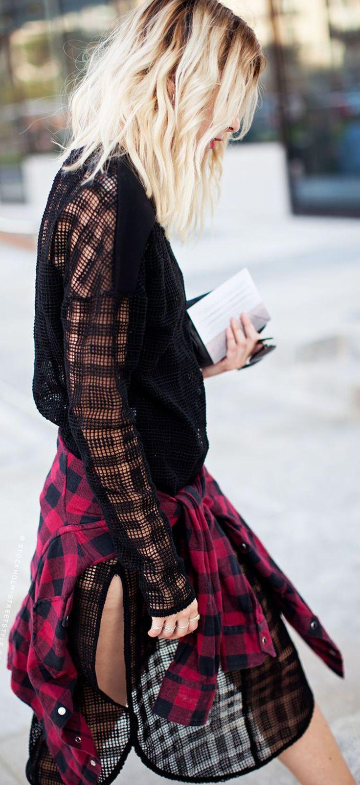 black mesh tunic dress and plaid