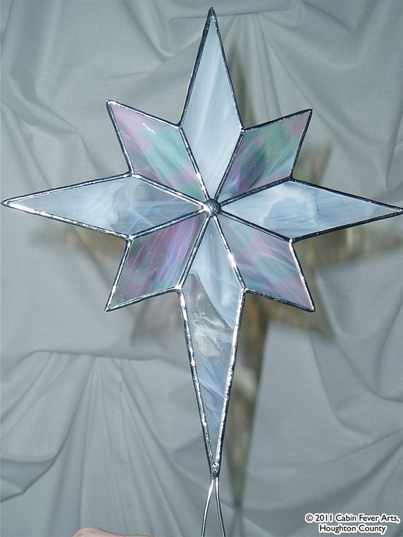 WHITE CHRISTMAS STAR in Stained Glass Tree by cabinfeverarts, $40.00