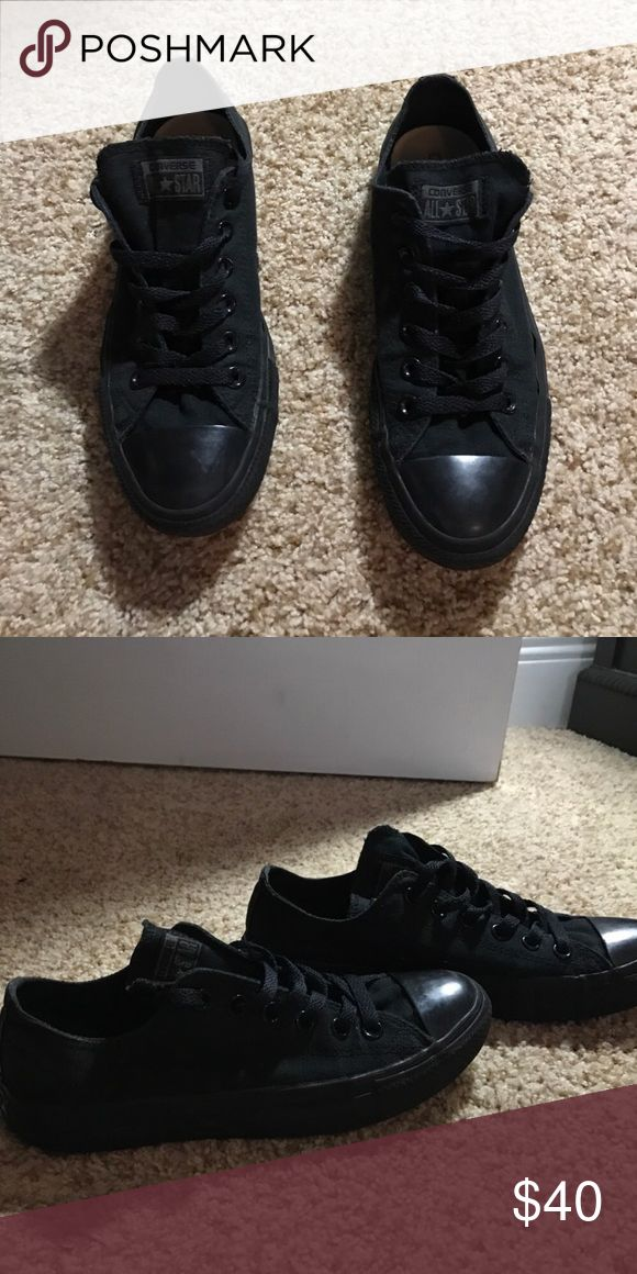 Black on black converse Worn a couple times good condition Converse Shoes Sneakers