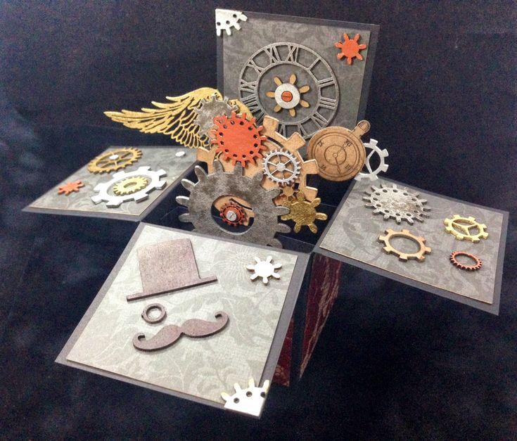 Unique Laser Designs: Steampunk Pop-Up Box Card Tutorial