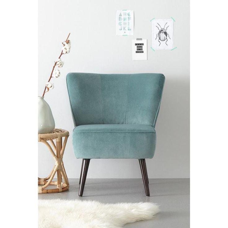 whkmp's own fauteuil Rocco velours, Vergrijsd turquoise #verhaaltjelezen