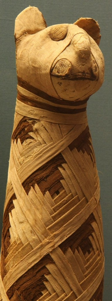 Egyptian cat mummy, ca. 50 BC, at the British Museum, by Mario Sanchez, Flickr.