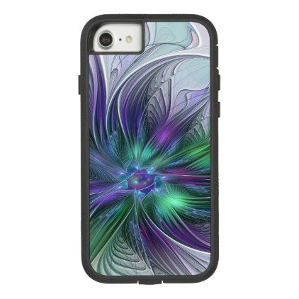 Purple Green Flower Modern Abstract Art Fractal Case-Mate Tough Extreme iPhone 8/7 Case - modern gifts cyo gift ideas personalize