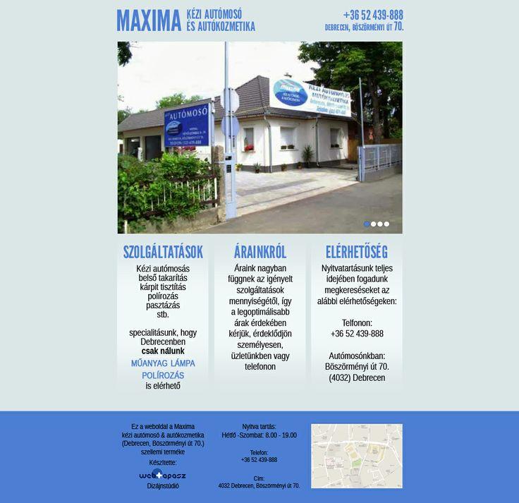 Autómosó honlapja - Webdesign for Car Wash  Kész / Ready http://maximamoso.hu/