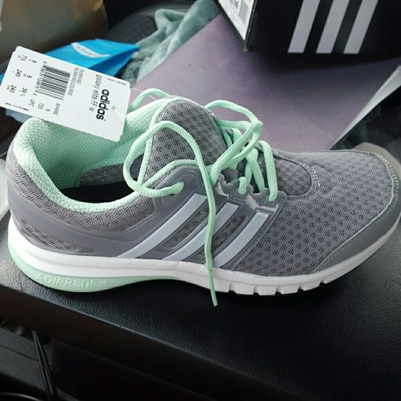 Brand new adidas running shoes Gray and mint color. Has gel insoles. Paid $70 never worn Adidas Shoes Sneakers