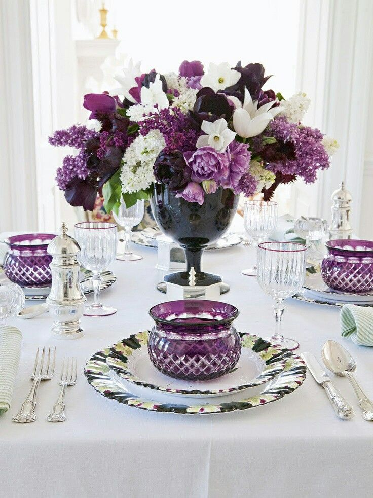 """would prefer plain white dishes and use purple napkins with white bird napkin holders (if available). I think that would be lovely ...and not to""""heavy"""" a feel."""