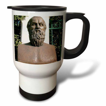 3dRose Aeschylus, Classical Athens Bust, Statue, Athens, Greece - HI02 PRI0000 - Prisma, Travel Mug, 14oz, Stainless Steel