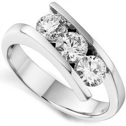 R3G002 - 3 Stone Tension Set Round Diamond Ring. 3 stone tension set round diamond engagement ring, with precision set diamonds between modern tapering crossover shoulders.