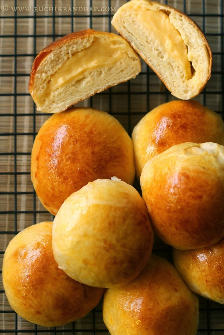 Ruchik Randhap (Delicious Cooking): Cream Pan ~ Japanese Custard Filled Cream Buns #Breadbakers