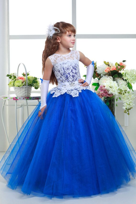 Dazzling White Royal Blue Lace Tulle Flower Girl dress  2fe9c315e901