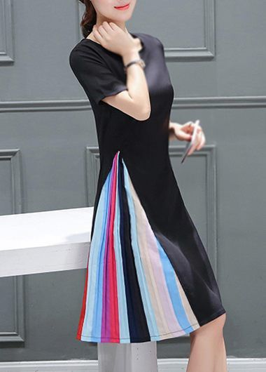 Short Sleeve Zipper Closure Black Dress on sale only US$27.32 now, buy cheap Short Sleeve Zipper Closure Black Dress at lulugal.com