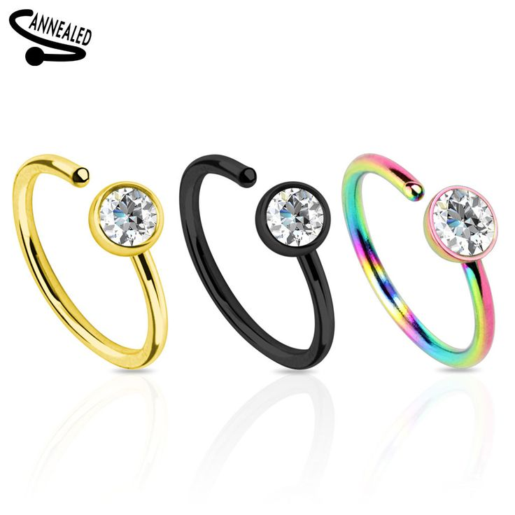 Titanium IP with Clear CZ 316L Surgical Steel Nose Ring