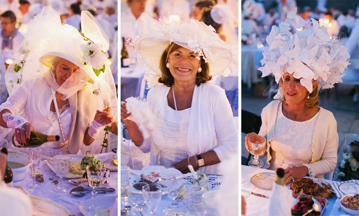 Diner en Blanc, also known as Diner in White, a top secret invitiation-only flash mob in Paris, France where 11,000 people dressed entirely in white clothes spontaneously set up tables and chairs in front of historic landmarks one night a year. Photographed by Stacy Reeves for vacation planning blog L'Amour de Paris.