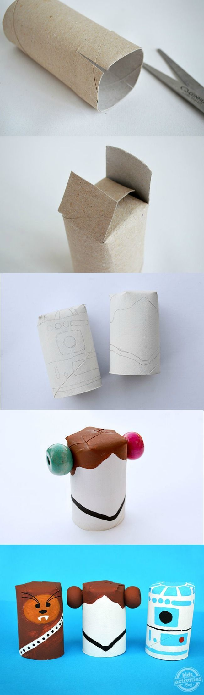 These star wars crafts made from toilet paper rolls are adorable!  Older kids will love getting to make these (and, me too!).