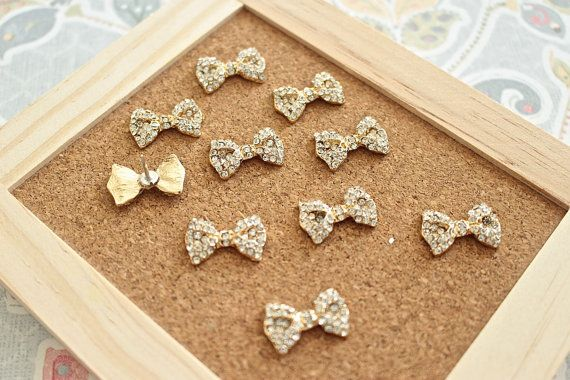 Gold Rhinestone Bow Thumbtack Bow Pushpins Cute by fluteofthehour