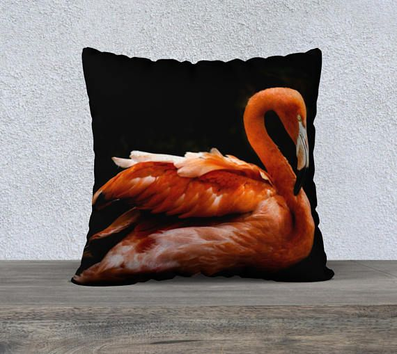 "Pink Flamingo Black Cushion Cover 22"" (55cm) 