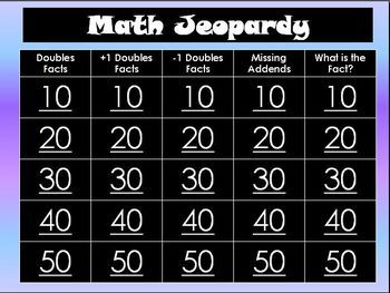Free Interactive Math Jeopardy Powerpoint for reviewing doubles and near doubles facts!  You can edit it to adapt to your lessons!  If you download...