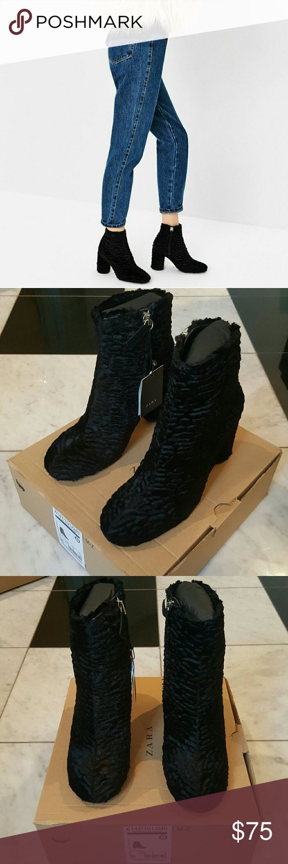 """Zara Faux Fur Ankle Boots FAUX FUR ANKLE BOOTS (6147) Brand new with tags in original wrap and box. 3.2"""" heel with side zip closure.  Material is 71% acetate, 14% polyester, 8% polyamide, 7% cotton.  100% goat leather slipsoles.   Available in: EU 36/US 6 EU 38/US 7.5 Zara Shoes Ankle Boots & Booties"""