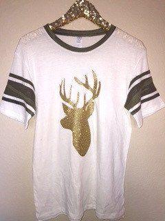 Camo Sleeve Deer T-Shirt - Deer Hunting Shirt - Ruffles with Love - RWL