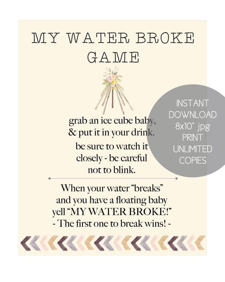 Printable Boho Tribal My Water Broke Baby Shower Game Life Hacks