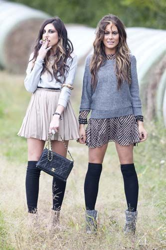 i must try both of these looks! flouncy skirt with a crew neck sweater and my new leopard sweater over a stripe dress.