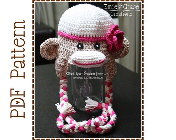 Crochet Sock Monkey Hat Pattern, Classic Ear Flap, SAM and SALLY Sock MONKEY - pdf 126 on Etsy, $4.99