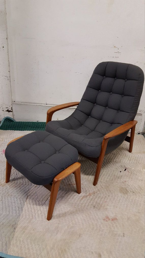 Danish tufted lounge chair and ottoman by VariousModernObjects