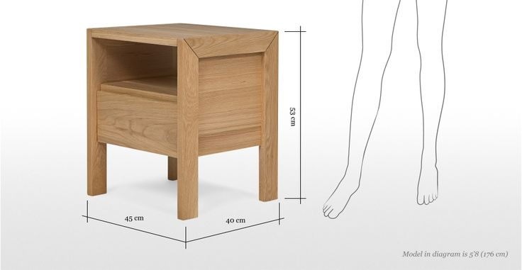 Ledger Bedside Table in oak | made.com