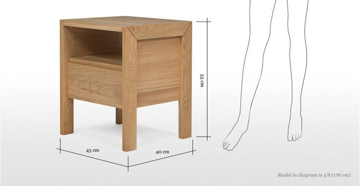 Ledger Bedside Table in oak | made.com