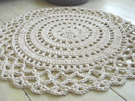 The perfect touch to your home space. Will look great in any room, place it by your bed, in the kids room, shower room, patio. This Rug is handmade from 100% cotton rope 5mm. This rug measures 42 ( 107 cm) in diameter ********************************************************** Please allow 5--10 days for your rug to be completed. ********************************************************** Care instructions -Machine Washable with gentle spin, dry flat. Made in a SMOKE FREE home. Thanks for...