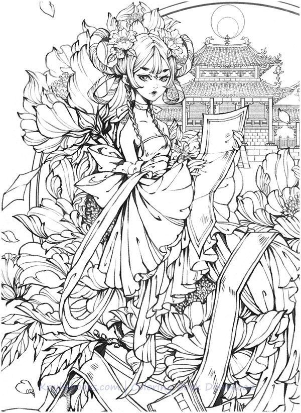 Download Gugeli Chinese Coloring Book Pdf Printable Hd Witch Coloring Pages Coloring Books Fairy Coloring Pages