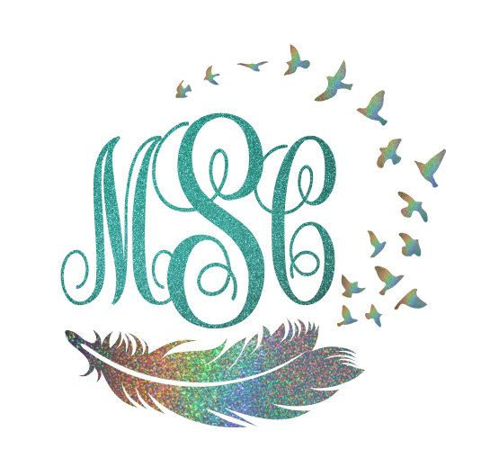 Custom Glitter Bird and Feather Monogram Car by AbbysClosetTX