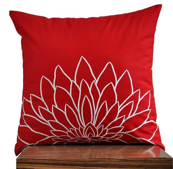 """Off White Sunflower - Throw Pillow Cover -18"""" x 18"""" Decorative Pillow Cover - Red"""