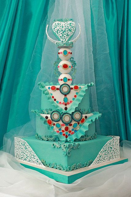 Bohemian Teal Wedding cake by MarinaD (11/1/2013) View details here: http://cakesdecor.com/cakes/94565