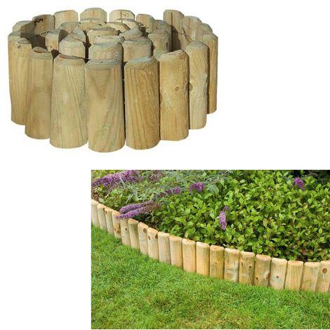 Grange Outdoor Garden Log Roll Edging Landscaping Wooden 1.8m x 45cm - Garden and Outdoor