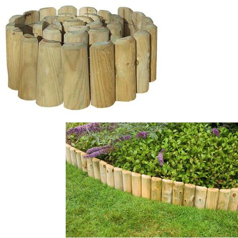 Grange Outdoor Garden Log Roll Edging Landscaping Wooden 1.8m x 45cm - Garden and Outdoor