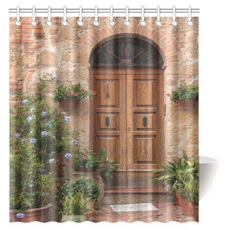 MYPOP Tuscan Decor Shower Curtain Medieval Facade Italian Rustic Wooden Door Brick Wall In Small Village Fabric Bathroom 66 X 72 Inches