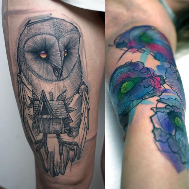 Great owl tattoo.: Peter Aurisch, Awesome Tattoo, Owls Tattoo, Watercolors, Peter O'Tool, Tattoo Artists, A Tattoo, Amazing Tattoo, Line Art