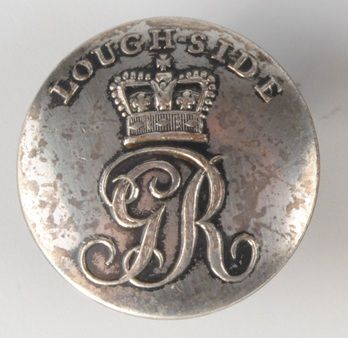 Loughside Volunteer Infantry coatee button, with crown above royal cypher and 'Loughside' above, no back mark