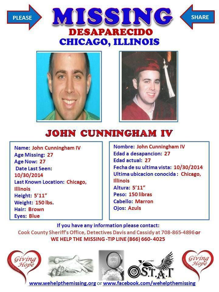 John Cunningham missing poster from We Help The Missing group