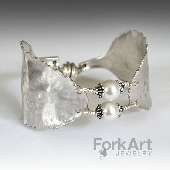 Spoon bracelet with 2 pearl Swarovski beads by ForkArtJewelry - ETSY - love this ♥