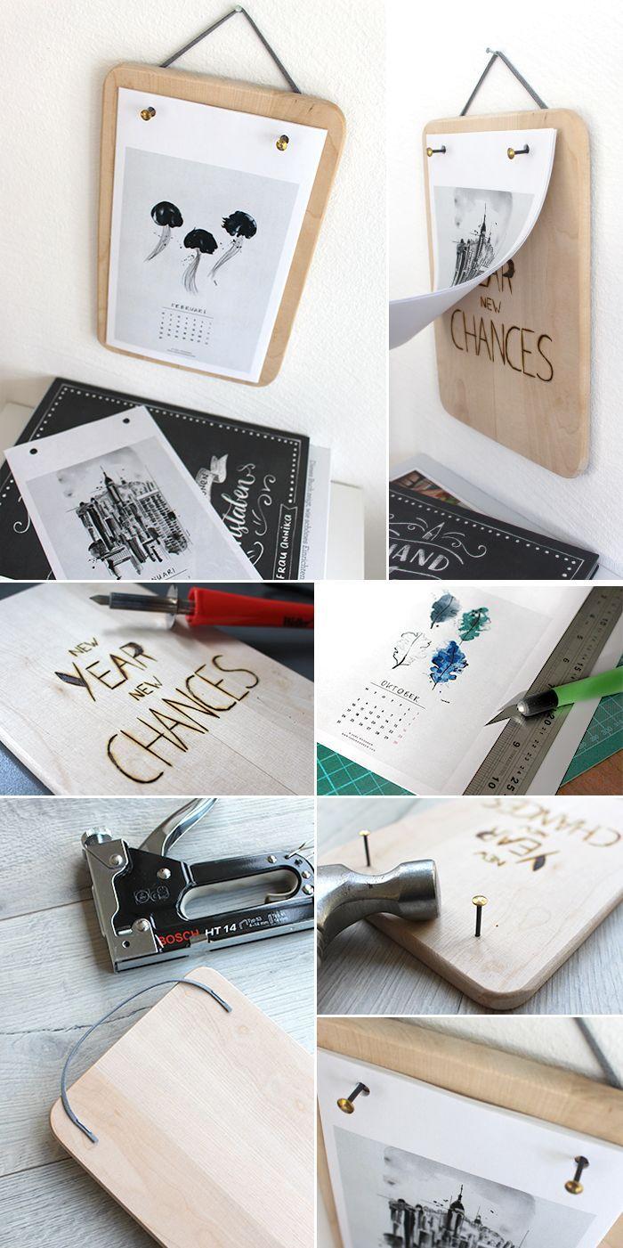 Gingered Things, DIY, Calendar, wood burning, Kalender, Deko, Frühstücksbrettchen, Holz brennen