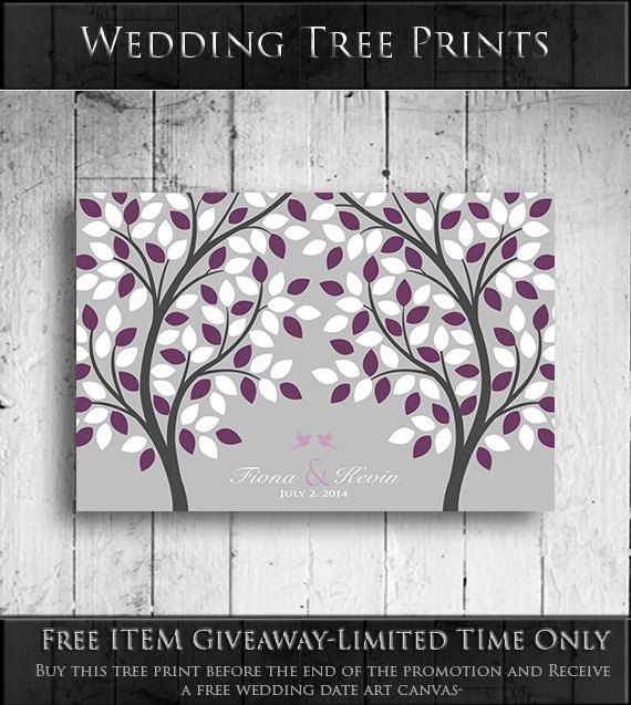 Wedding Guest Book Tree - Unique Guest Book Alternative - Tree with Birds- Print/Poster - FREE GIVEAWAY PROMO