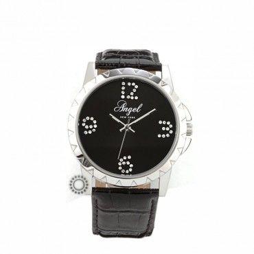 A.1288.10.01 - Γυναικείο ρολόι quartz ANGEL με μαύρο καντράν και μαύρο λουρί. Εγγύηση 2 ετών της επίσημης αντιπροσωπείας. Αποστολή εντός 24 ωρών #angel #μαυρο #λουρι #γυναικειο #ρολοι